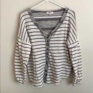 Umgee Striped Button Down Top